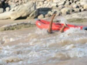 Falling out of inflatable kayak in 3 fords rapid.