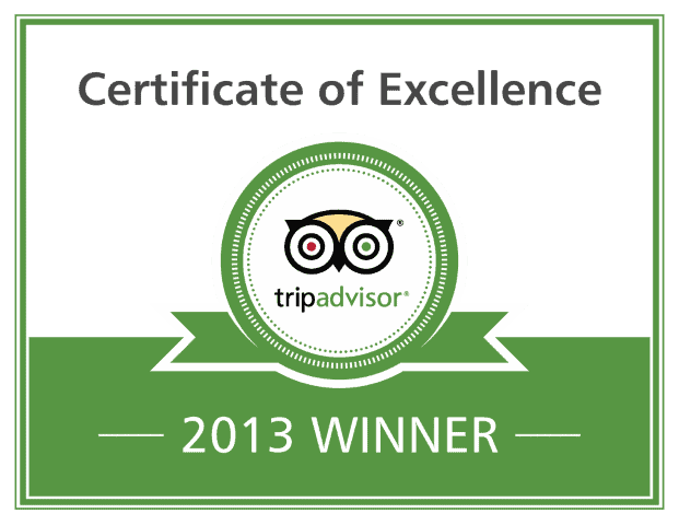 Certificate of Excellence Trip Advisor 2013