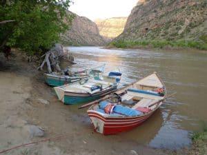 Dories at campsite along Colorado River