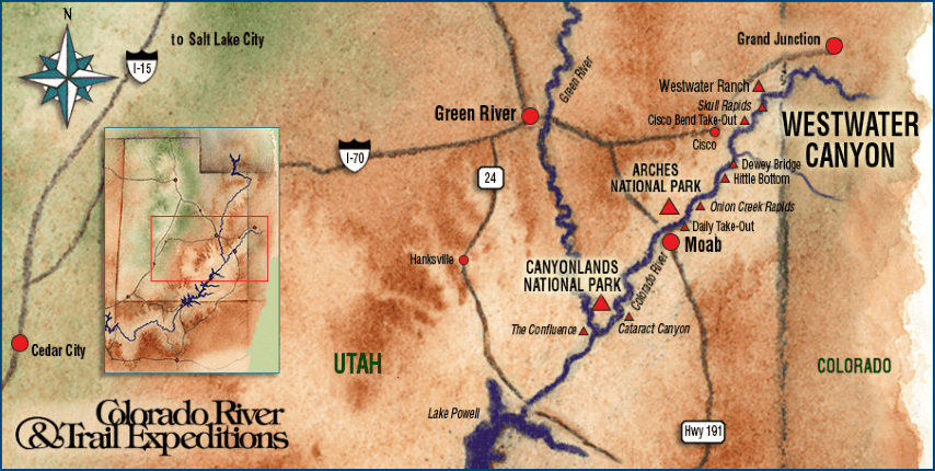 Map Westwater Canyon Rafting Route