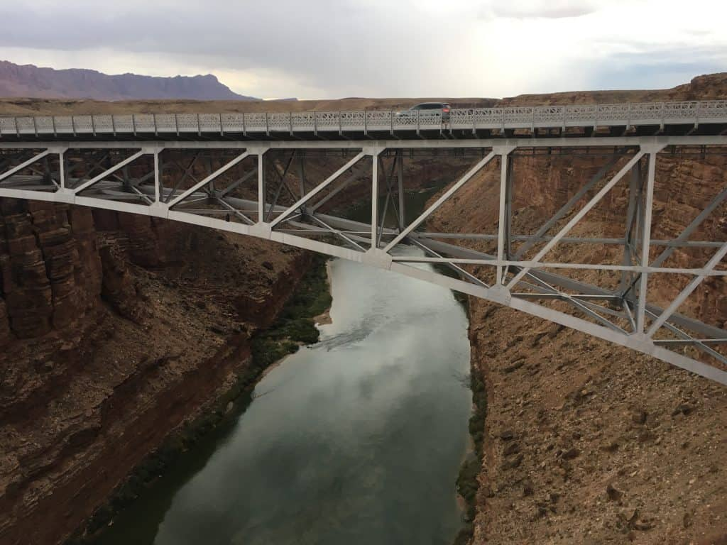 Navajo Bridge with the Colorado River below.