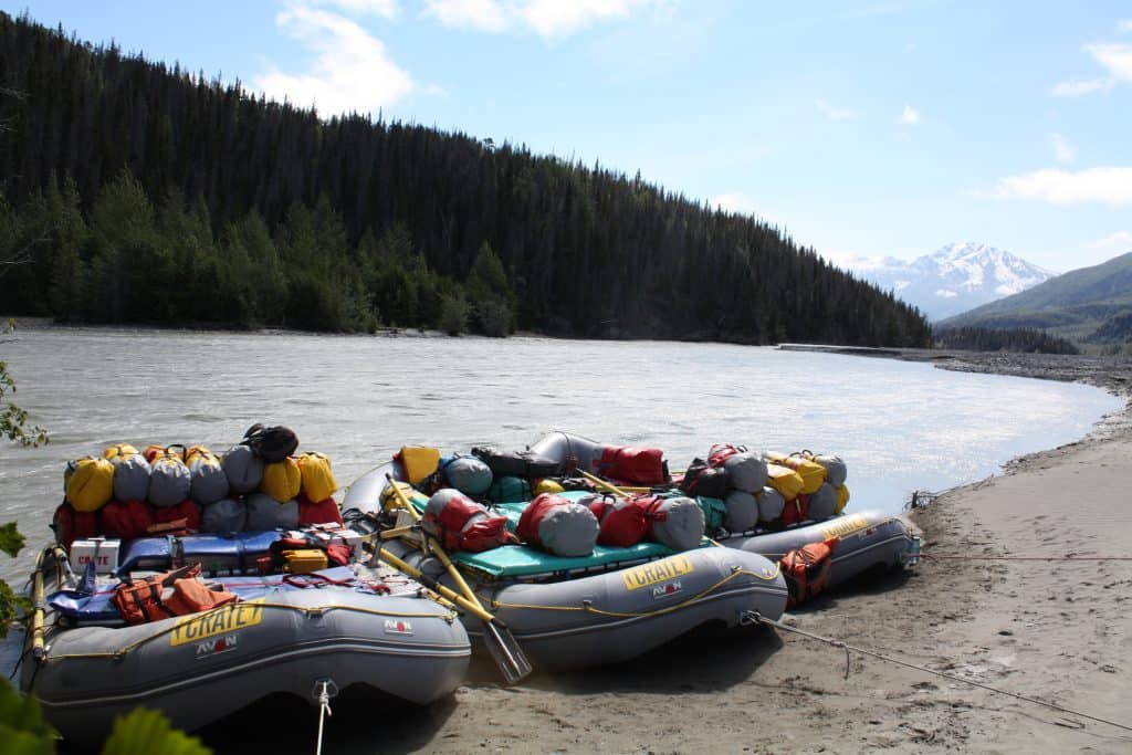 Boats tied up on the Tatshenshini River