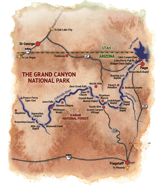 Map of Grand Canyon River Trip