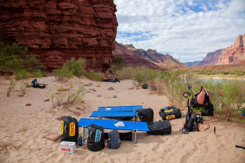 Tanner camp set up along the Colorado River on a Grand Canyon River Raft Trip