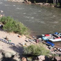 Camp set up on a rafting trip in the Grand Canyon