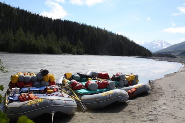 Rafts along Tatshenshini on Alaska Rafting Trip.