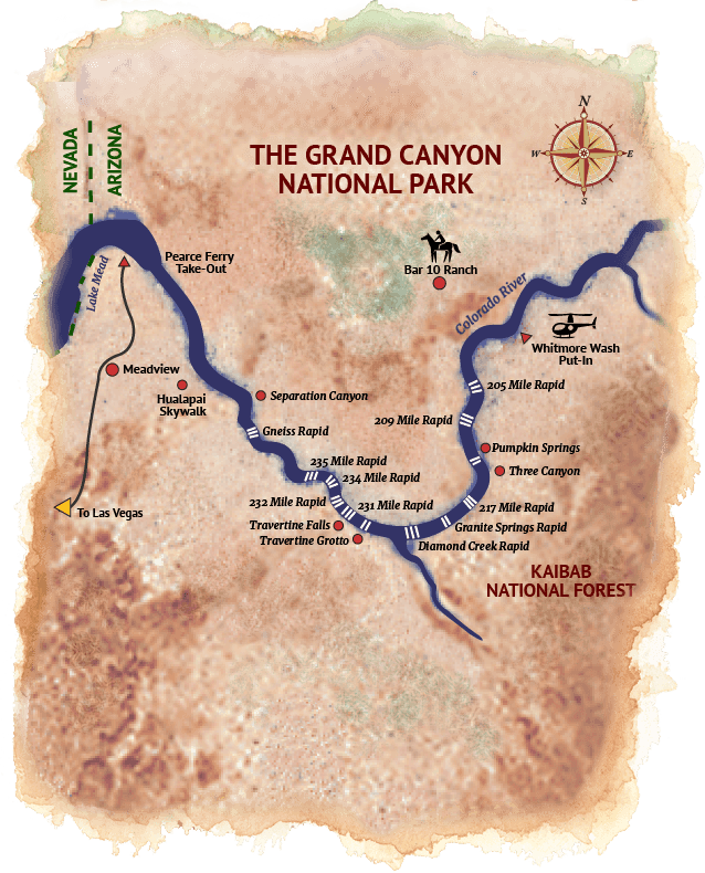 Grand Canyon Raft and Ranch Map