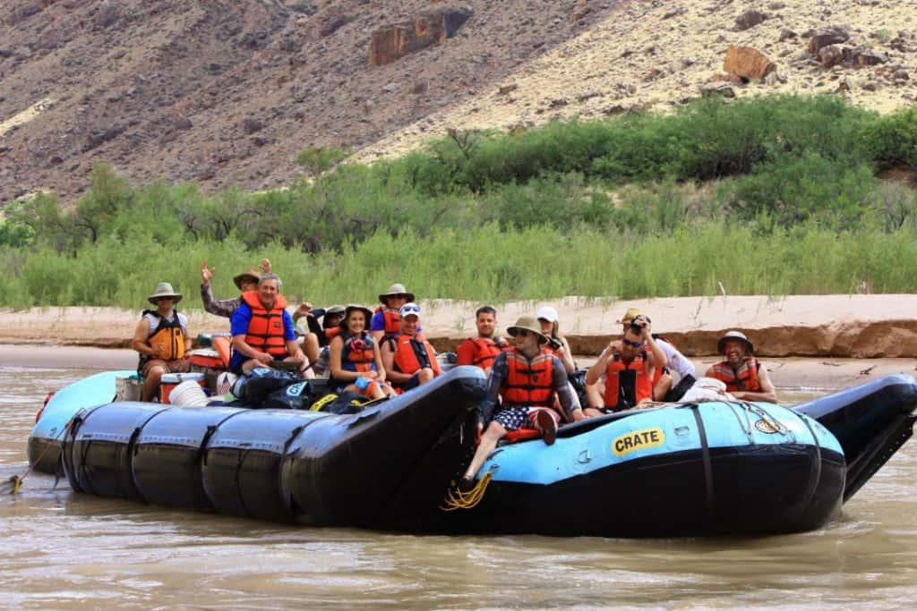 Raft in the bottom of the Grand Canyon