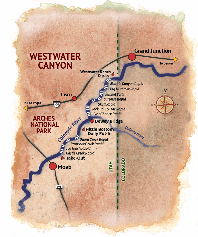 Westwater Canyon Rafting Map