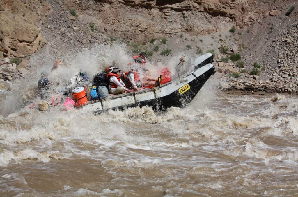 Big wave in Cataract canyon on Colorado River expedition