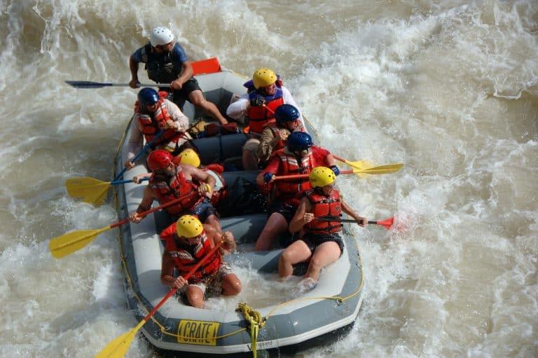 Grand Canyon rafting trip heading into Lava Falls on a Grand Canyon Raft trip.
