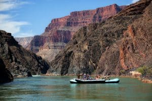 Calm water of Colorado River in Grand Canyon