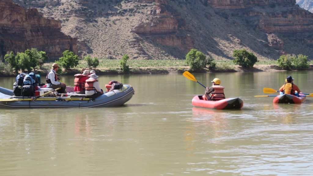 Learning how to paddle on the calm waters of Desolation Canyon