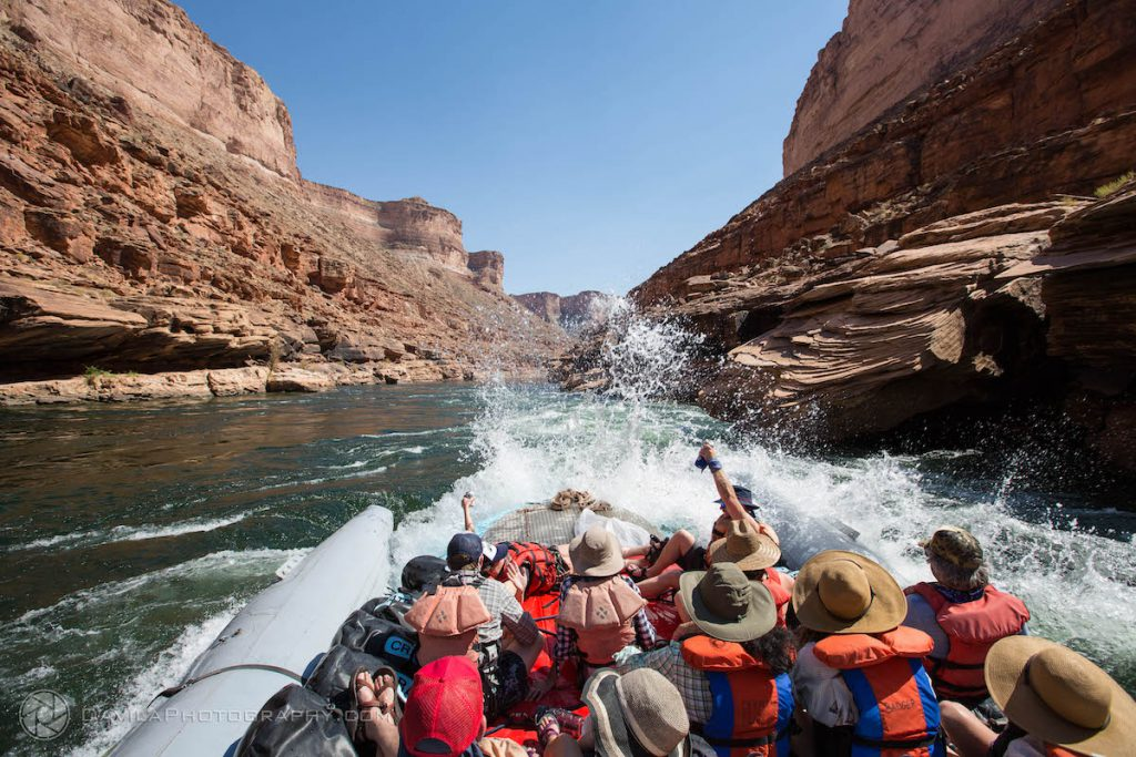 Running a rapid in Marble Canyon on a raft trip.