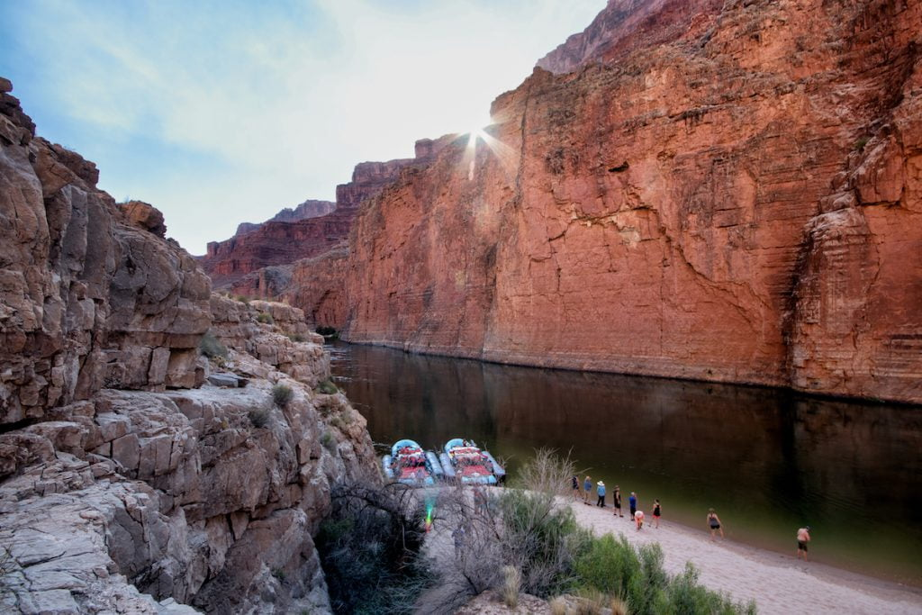 Sunlight in Marble Canyon at South Canyon on Colorado River rafting trip in Grand Canyon.