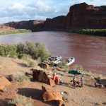 Lathrop Campsite during high water with dark red Colorado River flowing by.