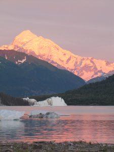 Mount Fairweather with Alpenglow Alsek Lake