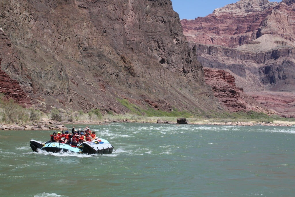 Rafters are happy to be below Tanner Rapid in Grand Canyon.