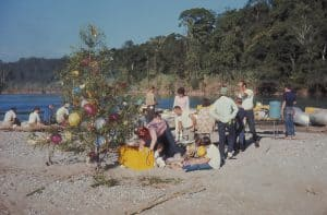 Dave Mackay celebrating Christmas on the Usamacinta River during a rafting trip.