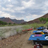 Camp Cots set up on Desolation Canyon rafting expedition.
