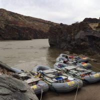 Avon rafts at Big Horn camp in Westwater Canyon along Colorado River.