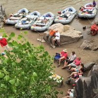 Looking down at campers in Big Horn Camp on Westwater Canyon Rafting Trip.
