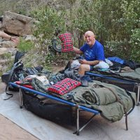 Camping on a Cot on a Grand Canyon rafting trip.