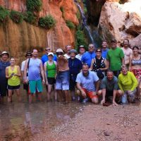 Elves chasm group photo on yendor grand canyon rafting trip.